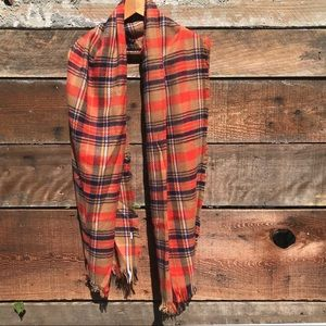 Plaid Scarf for Fall in Orange/Tan/Navy
